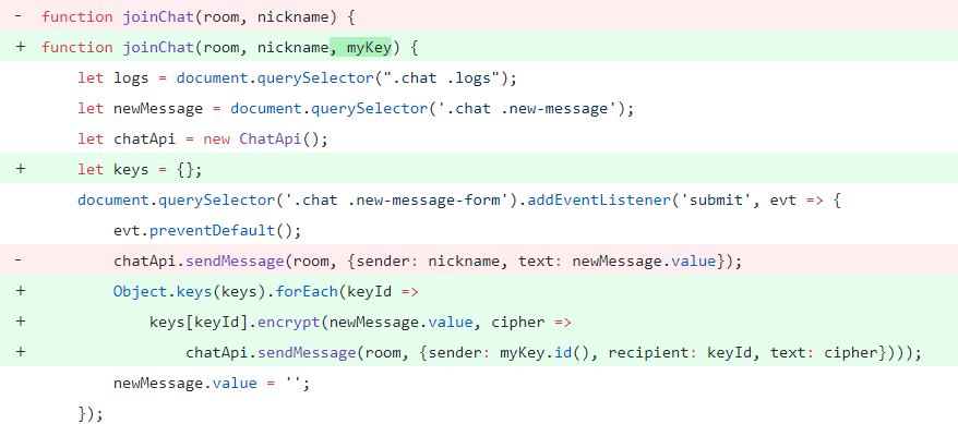 End-to-end encrypted chat on JavaScript